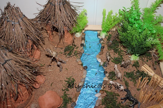 Maqueta escolar de un campamento Neolítico