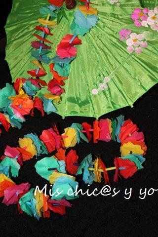 Como hacer un collar hawaiano con flores de papel