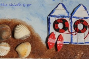 Manualidad collage casetas playa