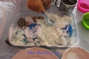 Material para el experimento: hielo, maizena