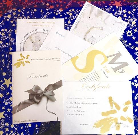 Papeles y certificado de bautizo de una estrella