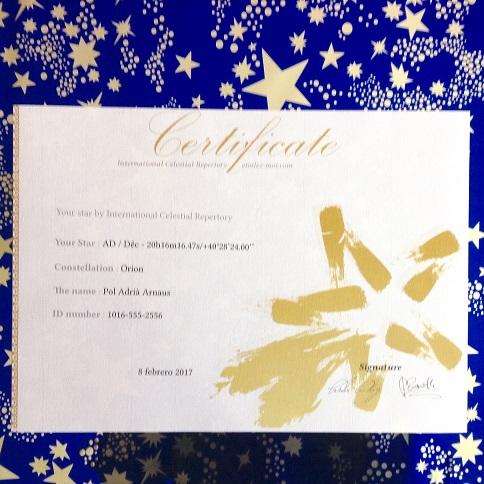 Certificado acreditativo de un bautizo de estrella