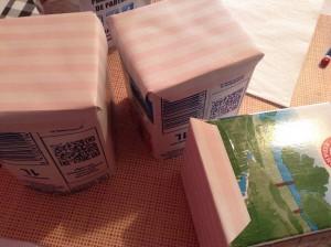 Cartón de leche reciclado