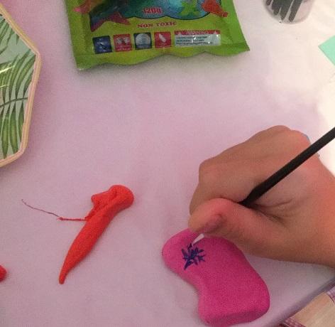 Pintando pulmón maqueta