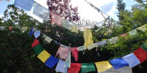 Banderas de colores de oraciones budistas ondeando al viento
