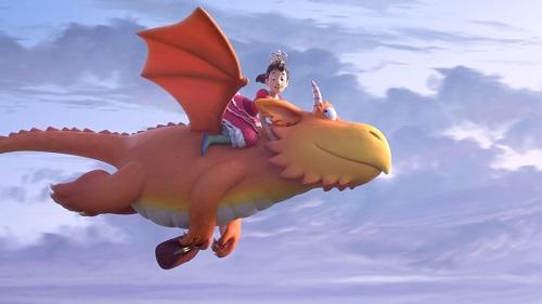 Zog, dracs i heroïnes. Dragón volando con princesa