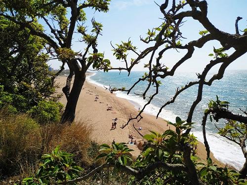 Una de las playas de Calella vista desde arriba en la carretera