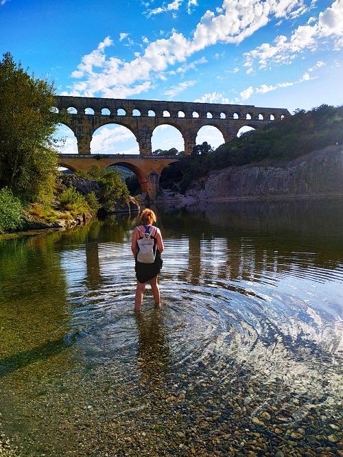 Bañarse en el Pont du Gard
