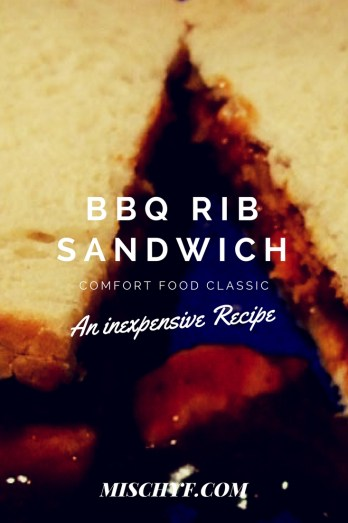 BBQ Rib Sandwich is a great way to use those leftovers. However if you don't have leftovers, Dollar Tree has boneless ribs in there freezer section. Mischyf.com