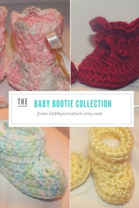 Presenting the Baby Bootie Crocheted Collection by Debbyscreation.etsy.com. She crochets baby dresses, outfits, booties and more for boys and girls.