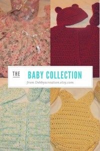 Presenting the Baby Crocheted Collection by Debbyscreation.etsy.com. She crochets newborn, dresses, outfits, cardigan, hats booties and more for both boys and girls..