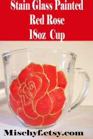 Stain glass hand painted 18oz red rose glass cup. Found only at mischyf.etsy.com