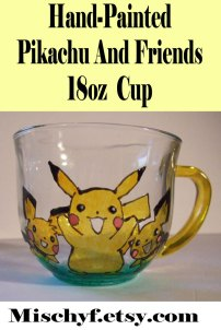 Pikachu and Friends 18oz glass cup. Only found at mischyf.etsy.com