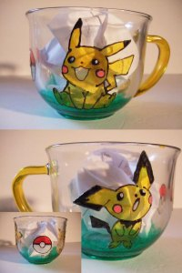 Stain glass hand painted 18oz pikachu pokemon glass cup. Found only at mischyf.etsy.com
