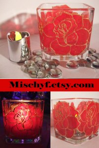 Stain glass hand painted red rose 18oz glass cup. Found only at mischyf.etsy.com