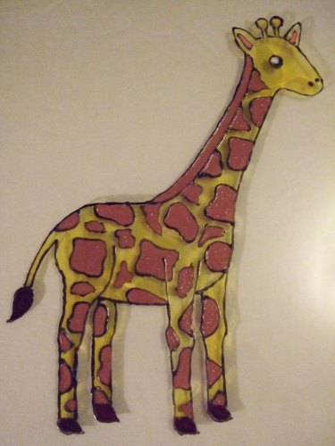 Finished painting the giraffe on the glass with pebeo vitrea paint.