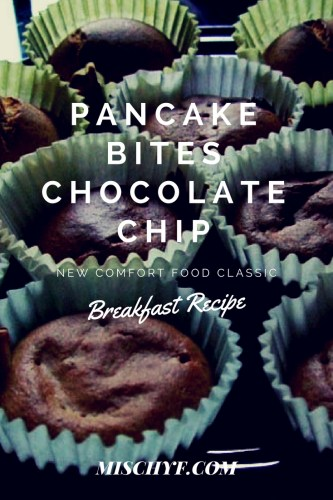 Pancake Bites made with Chocolate Chips. These are easy to make. I made them to store them in the freezer until ready to eat.