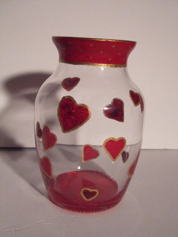 Red Gold Hearts Vase