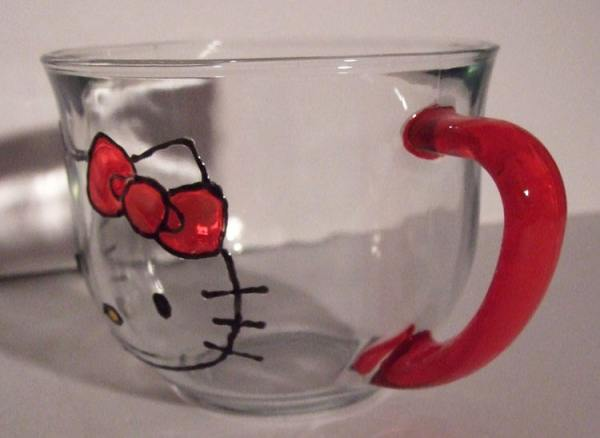 Hand painted Hello Kitty glass tea cup and coffee mug.