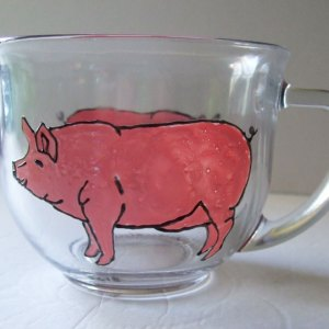 Pig Cup, Hand-Painted Glass Mug