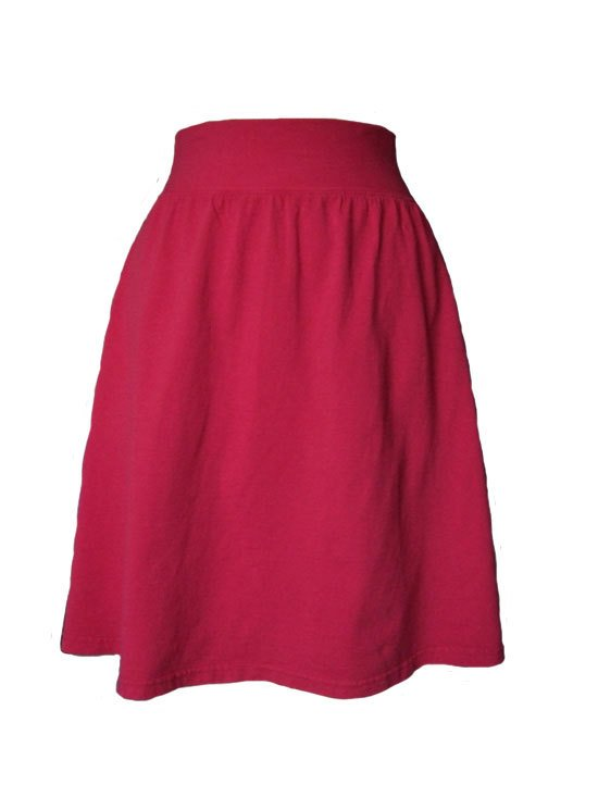 Crimson Red Jersey Knit Skirt with a Rolled Waistband