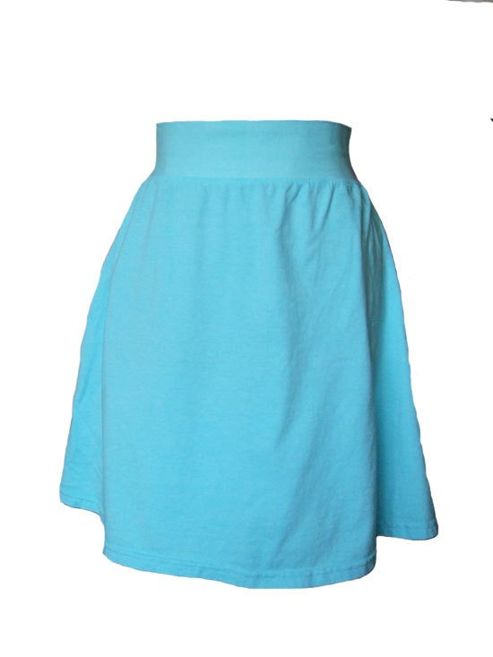Turquoise Jersey Knit Skirt with Rolled Waistband