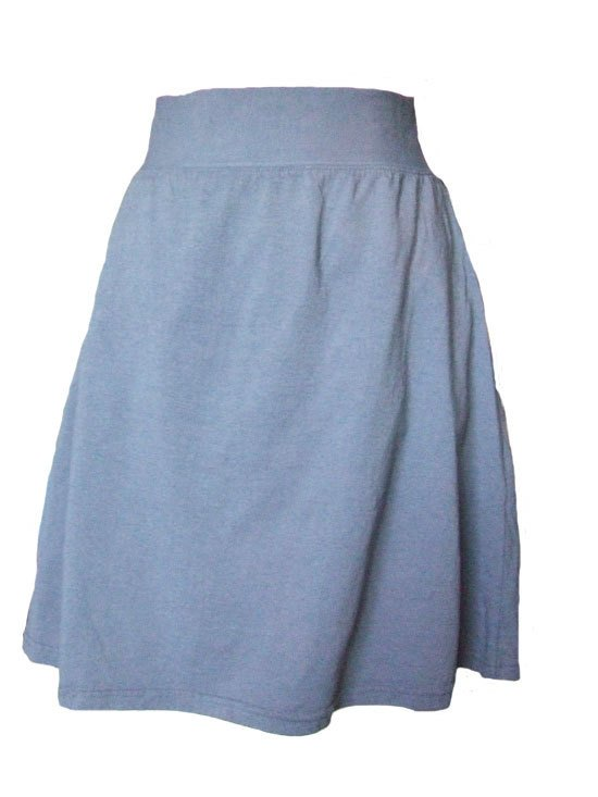 Grey Jersey Knit Skirt with a Rolled Waistband