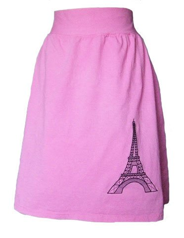 Eiffel Tower Pink Jersey Knit Skirt with a Rolled Waistband
