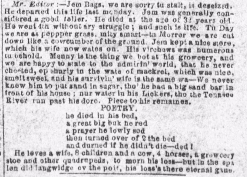 JemBags Obit Houston Telegraph 16Nov1863
