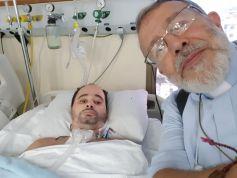 Pe. João Henrique e Sidney, vítima da Misericórdia da Aliança/RJ no hospital