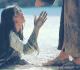 """Cena do filme """"Paixão de Cristo"""" onde Madalena estende a mão a Jesus"""
