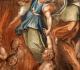 Quadro que mostra um anjo ajudando almas do Purgatório
