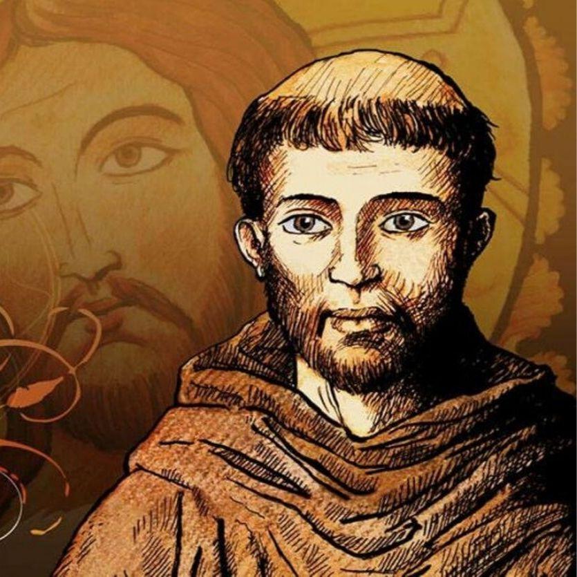Gravura de São Francisco ao fundo Rosto de Cristo