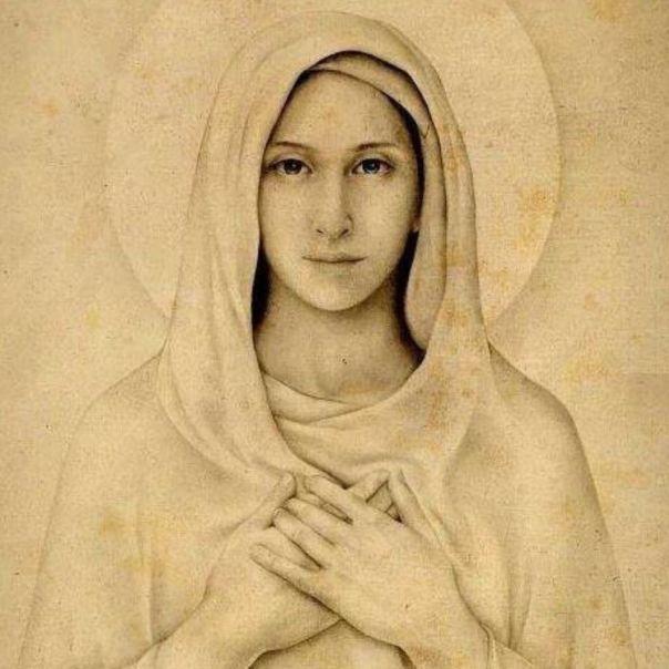 Ilustração do rosto de Maria-filtro sépia
