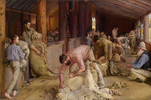 """Tom Roberts - Shearing the rams - Google Art Project"" by Tom Roberts - lQEDjT-_MXaMJQ at Google Cultural Institute, zoom level maximum. Licensed under Public Domain via Commons - https://commons.wikimedia.org/wiki/File:Tom_Roberts_-_Shearing_the_rams_-_Google_Art_Project.jpg#/media/File:Tom_Roberts_-_Shearing_the_rams_-_Google_Art_Project.jpg"