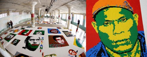 Some of the 175 portraits made from 1.2 million Lego pieces in the installation 'Trace.' (Eric Risberg/Associated Press)