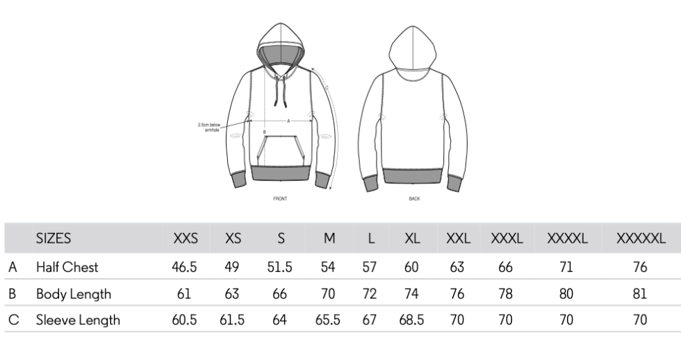 Misfits Inc Organic Cotton Hoodie Size Guide