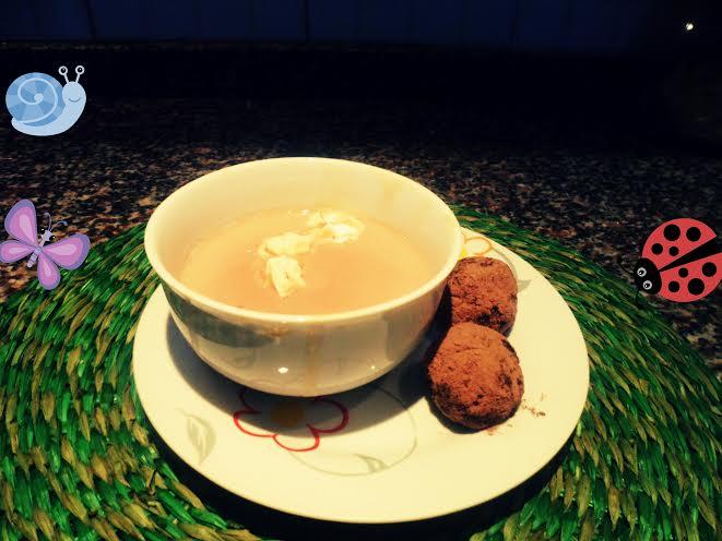 Postre leche con bombones de avena y semillas