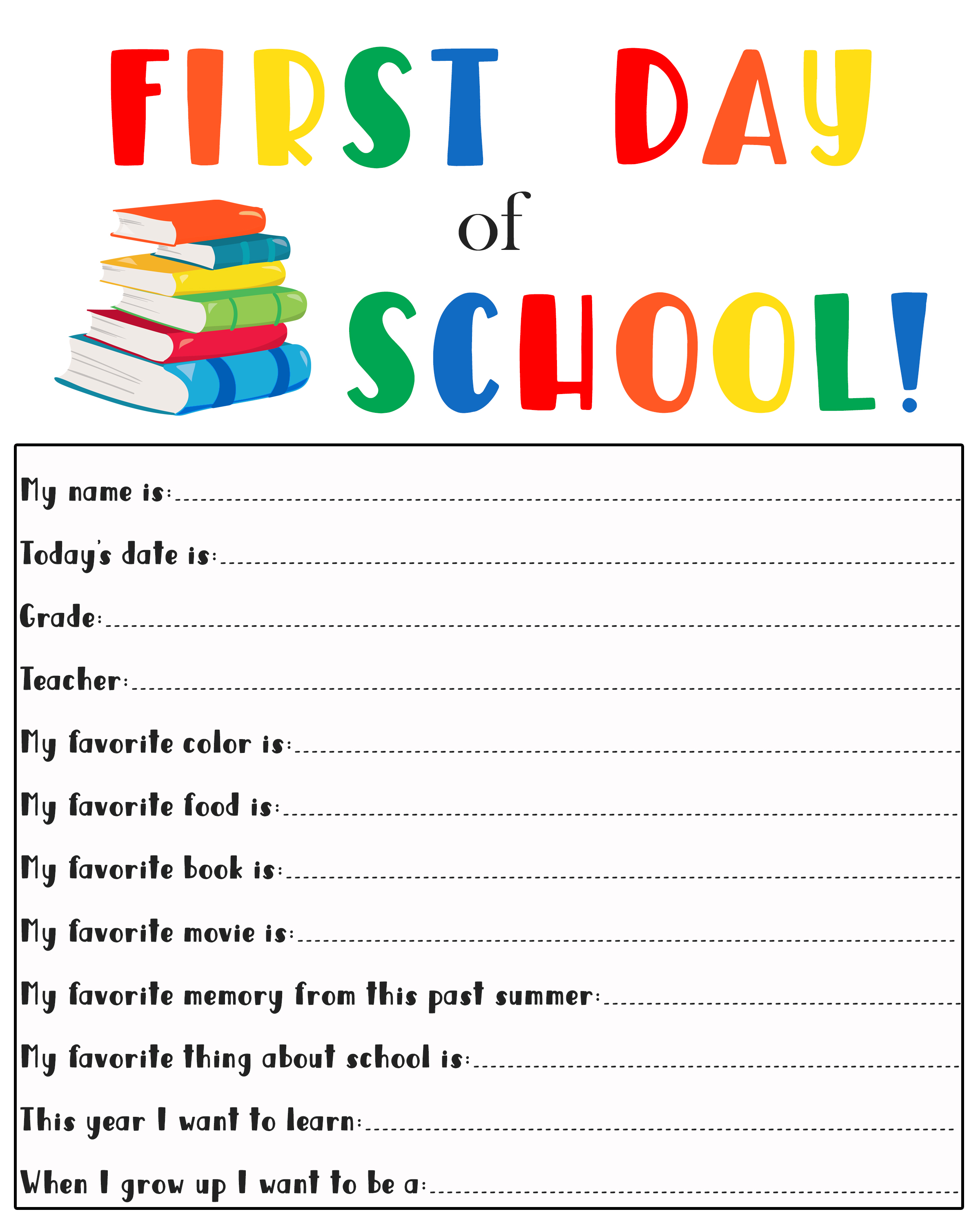 1st Day Of School Printable