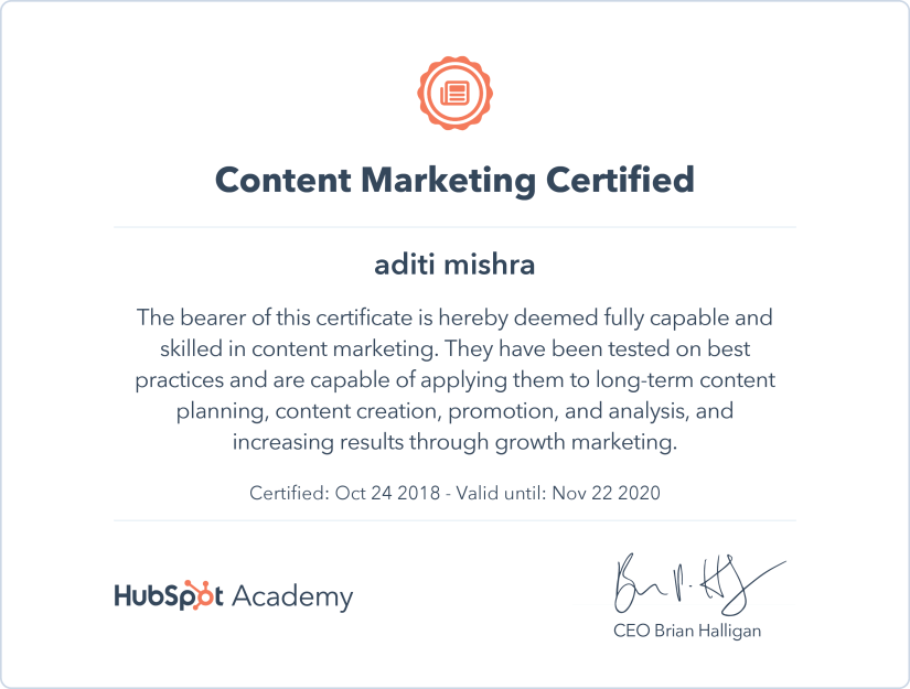 Digital Marketing Certification ~ HubSpot Content Marketing Certification