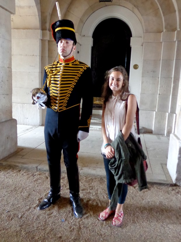 With a guard in London