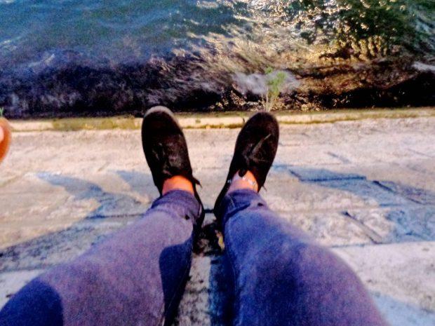 Foot selfie at the River Seine in Paris