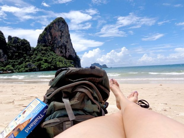 Foot selfie on the beach in Railay, Thailand