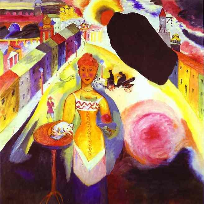 pintores.- 22nb.-Kandinsky.-Mujer en Moscú.-1912.-Museum Syindicate