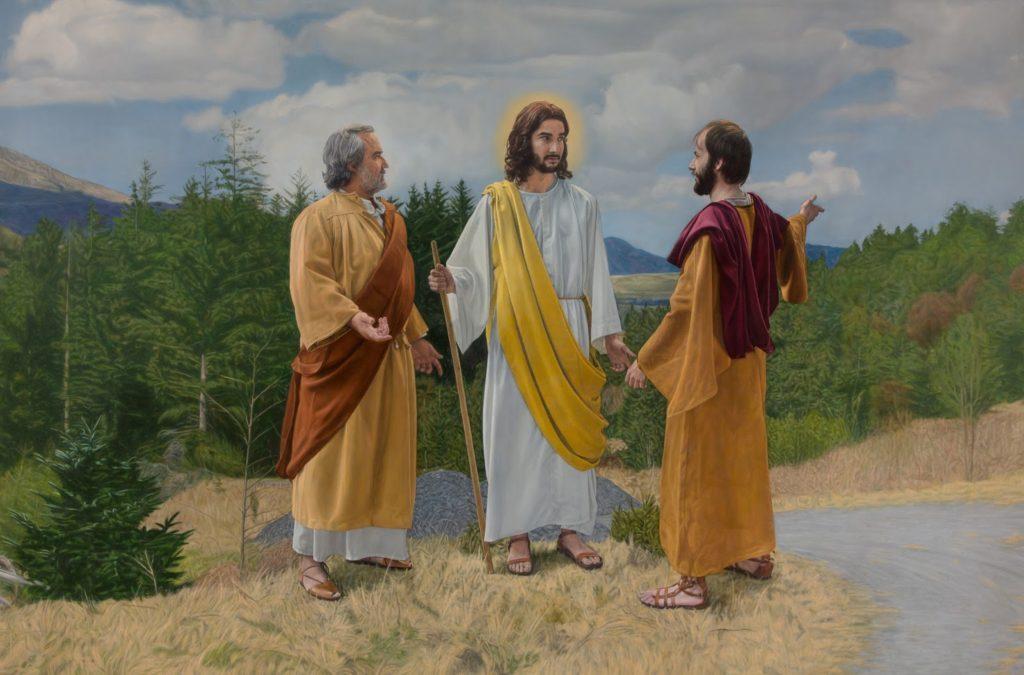 El cuadro es del artista Arístides Artal, y está en Saxum, en el auditorio del centro de visitantes. La pintura representa el momento del encuentro del Jesús en el camino a Emaús con dos de sus discípulos.