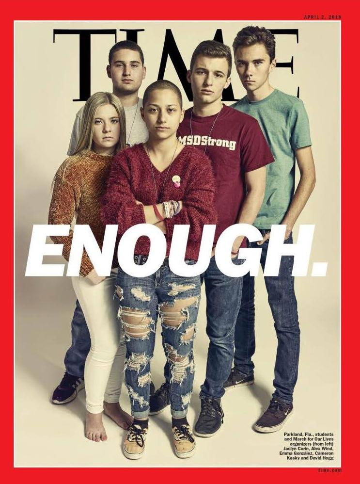 Jóvenes estudiantes sobrevivientes de Parkland en una reciente portada de la revista Time