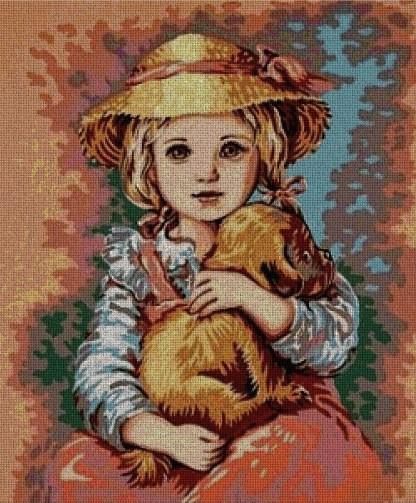 INFNINA-1: Gráfico de punto de cruz para descargar en PDF, imprimir y bordar dibujo infantil de niña con perrito