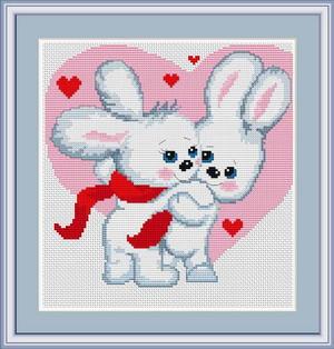 Kit de punto de cruz marca Luca-s, con gráfico, tela e hilos Anchor. Dibujo de San Valentín con conejitos enamorados.
