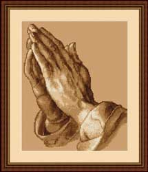 Kit de punto de cruz marca Luca-s, con gráfico, tela e hilos Anchor. Dibujo de manos rezando.