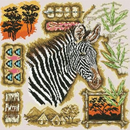 AFRICA-1: bordado a punto de cruz de cebra africana